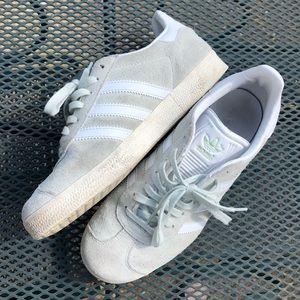 Adidas mint green gazelle shoes